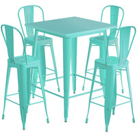 Lancaster Table & Seating Alloy Series 32 inch x 32 inch Seafoam Outdoor Bar Height Table with 4 Metal Cafe Bar Stools