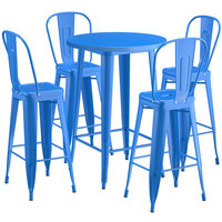 Lancaster Table & Seating Alloy Series 30 inch Round Blue Outdoor Bar Height Table with 4 Metal Cafe Bar Stools