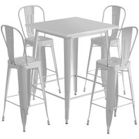Lancaster Table & Seating Alloy Series 32 inch x 32 inch Silver Outdoor Bar Height Table with 4 Metal Cafe Bar Stools