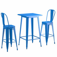 Lancaster Table & Seating Alloy Series 24 inch x 24 inch Blue Outdoor Bar Height Table with 2 Metal Cafe Bar Stools