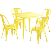 Lancaster Table & Seating Alloy Series 32 inch x 32 inch Yellow Dining Height Outdoor Table with 4 Industrial Cafe Chairs