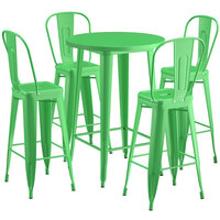 Lancaster Table & Seating Alloy Series 30 inch Round Green Outdoor Bar Height Table with 4 Metal Cafe Bar Stools