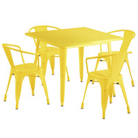 Lancaster Table & Seating Alloy Series 36 inch x 36 inch Yellow Dining Height Outdoor Table with 4 Arm Chairs