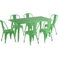Lancaster Table & Seating Alloy Series 63 inch x 32 inch Green Dining Height Outdoor Table with 6 Industrial Cafe Chairs