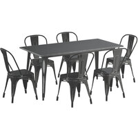 Lancaster Table & Seating Alloy Series 63 inch x 32 inch Distressed Black Dining Height Outdoor Table with 6 Industrial Cafe Chairs