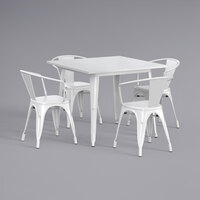 Lancaster Table & Seating Alloy Series 36 inch x 36 inch White Dining Height Outdoor Table with 4 Arm Chairs