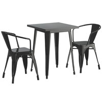Lancaster Table & Seating Alloy Series 24 inch x 24 inch Black Dining Height Outdoor Table with 2 Arm Chairs
