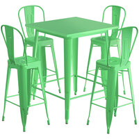 Lancaster Table & Seating Alloy Series 32 inch x 32 inch Green Outdoor Bar Height Table with 4 Metal Cafe Bar Stools