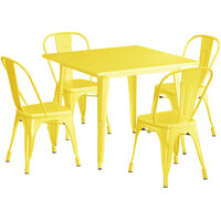 Lancaster Table & Seating Alloy Series 36 inch x 36 inch Yellow Dining Height Outdoor Table with 4 Industrial Cafe Chairs