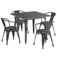 Lancaster Table & Seating Alloy Series 36 inch x 36 inch Distressed Black Dining Height Outdoor Table with 4 Arm Chairs