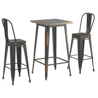 Lancaster Table & Seating Alloy Series 24 inch x 24 inch Distressed Copper Outdoor Bar Height Table with 2 Metal Cafe Bar Stools