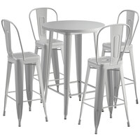Lancaster Table & Seating Alloy Series 30 inch Round Silver Outdoor Bar Height Table with 4 Metal Cafe Bar Stools