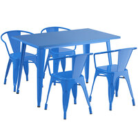 Lancaster Table & Seating Alloy Series 48 inch x 30 inch Blue Dining Height Outdoor Table with 4 Arm Chairs