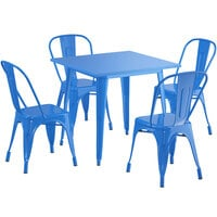 Lancaster Table & Seating Alloy Series 32 inch x 32 inch Blue Dining Height Outdoor Table with 4 Industrial Cafe Chairs
