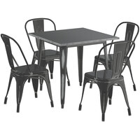 Lancaster Table & Seating Alloy Series 32 inch x 32 inch Square Distressed Black Dining Height Outdoor Table with 4 Industrial Cafe Chairs