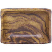 Elite Global Solutions D32RC-SEQ Sequoia 3 1/2 inch x 2 5/8 inch Wood Grain Melamine Sauce Dish