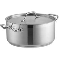 Vigor 8 Qt. Stainless Steel Brazier with Aluminum-Clad Bottom and Cover