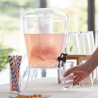 Choice 3 Gallon Hands-Free Acrylic Beverage Dispenser with Vertical Ice Core and Fruit Infuser