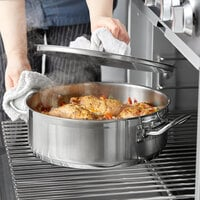 Vigor 10 Qt. Stainless Steel Brazier with Aluminum-Clad Bottom and Cover