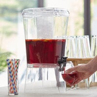 Choice 3.5 Gallon Hands-Free Acrylic Beverage Dispenser with Vertical Ice Core