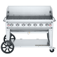 Crown Verity CV-RCB-48WGP-SI-BULK Pro Series 48 inch Outdoor Mobile Grill with 48 inch Windguard and Bulk Tank Capacity - 114,000 BTU