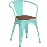 Lancaster Table & Seating Alloy Series Seafoam Metal Indoor Industrial Cafe Arm Chair with Vertical Slat Back and Walnut Wood Seat