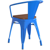 Lancaster Table & Seating Alloy Series Blue Metal Indoor Industrial Cafe Arm Chair with Vertical Slat Back and Walnut Wood Seat