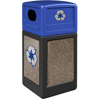 Commercial Zone 72234799K StoneTec 42 Gallon Black Square Recycling Receptacle with Riverstone Panels and Blue Lid