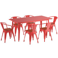 Lancaster Table & Seating Alloy Series 63 inch x 32 inch Red Dining Height Table with 6 Arm Chairs and Walnut Wooden Seats