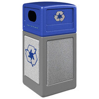 Commercial Zone 722323K StoneTec 42 Gallon Gray Square Recycling Receptacle with Ashtone Panels and Blue Lid