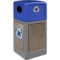 Commercial Zone 72234599K StoneTec 42 Gallon Gray Square Recycling Receptacle with Riverstone Panels and Blue Lid