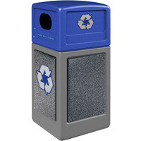 Commercial Zone 72234899K StoneTec 42 Gallon Gray Square Recycling Receptacle with Pepperstone Panels and Blue Lid