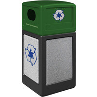 Commercial Zone 72234199K StoneTec 42 Gallon Black Square Recycling Receptacle with Ashtone Panels and Forest Green Lid