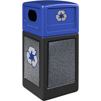 Commercial Zone 722322K StoneTec 42 Gallon Black Square Recycling Receptacle with Pepperstone Panels and Blue Lid
