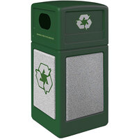 Commercial Zone 722327K StoneTec 42 Gallon Forest Green Square Recycling Receptacle with Ashtone Panels