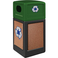 Commercial Zone 72234499K StoneTec 42 Gallon Black Square Recycling Receptacle with Sedona Panels and Forest Green Lid