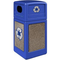 Commercial Zone 722332K StoneTec 42 Gallon Blue Square Recycling Receptacle with Riverstone Panels