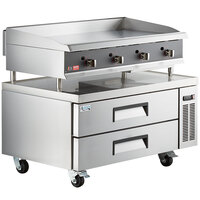 Cooking Performance Group 48N Ultra Series 48 inch Heavy-Duty Chrome Plated Natural Gas 4-Burner Countertop Griddle and 2 Drawer Refrigerated Base - 120,000 BTU