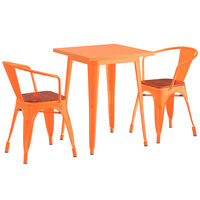 Lancaster Table & Seating Alloy Series 24 inch x 24 inch Orange Dining Height Table with 2 Arm Chairs and Walnut Wooden Seats