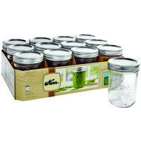 Kerr 518 16 oz. Pint Wide Mouth Glass Canning Jar with Silver Metal Lid and Band   - 12/Case