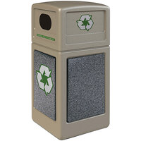 Commercial Zone 722317K StoneTec 42 Gallon Beige Square Recycling Receptacle with Pepperstone Panels