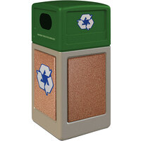 Commercial Zone 72233999K StoneTec 42 Gallon Beige Square Recycling Receptacle with Sedona Panels and Forest Green Lid
