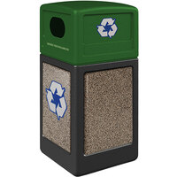 Commercial Zone 72234299K StoneTec 42 Gallon Black Square Recycling Receptacle with Riverstone Panels and Forest Green Lid
