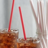 10 1/4 inch Giant Red Wrapped Straw - 2000/Case