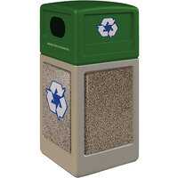 Commercial Zone 72233799K StoneTec 42 Gallon Beige Square Recycling Receptacle with Riverstone Panels and Forest Green Lid