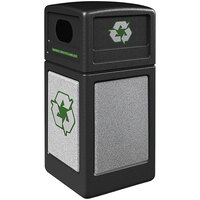 Commercial Zone 722320K StoneTec 42 Gallon Black Square Recycling Receptacle with Ashtone Panels