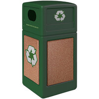 Commercial Zone 722329K StoneTec 42 Gallon Forest Green Square Recycling Receptacle with Sedona Panels