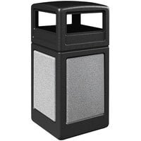 Commercial Zone 720420K StoneTec 42 Gallon Square Black Trash Receptacle with Ashtone Panels and Dome Lid