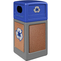 Commercial Zone 722325K StoneTec 42 Gallon Gray Square Recycling Receptacle with Sedona Panels and Blue Lid