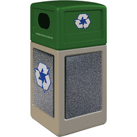 Commercial Zone 72233599K StoneTec 42 Gallon Beige Square Recycling Receptacle with Pepperstone Panels and Forest Green Lid